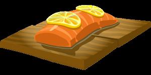 salmon on chopping board