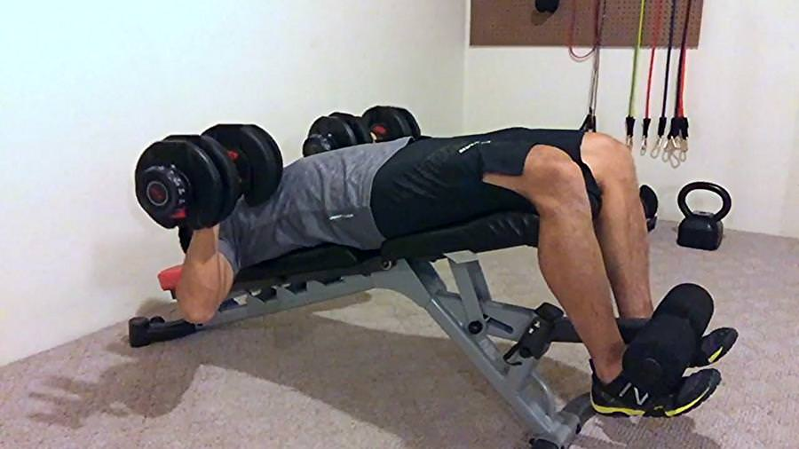 body builder exercising on the bowflex 5.1 weight bench