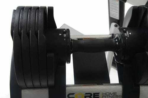 adjustable dumbbell on weight stand