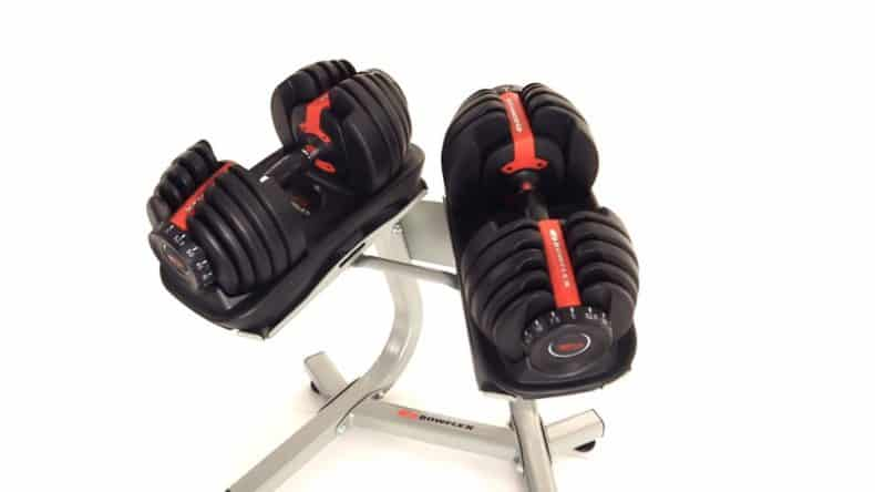adjustbable dumbbells on bowflex stand