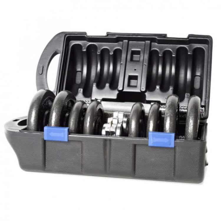 cap barbbell dumbbells plates and handles in the plastic carry box