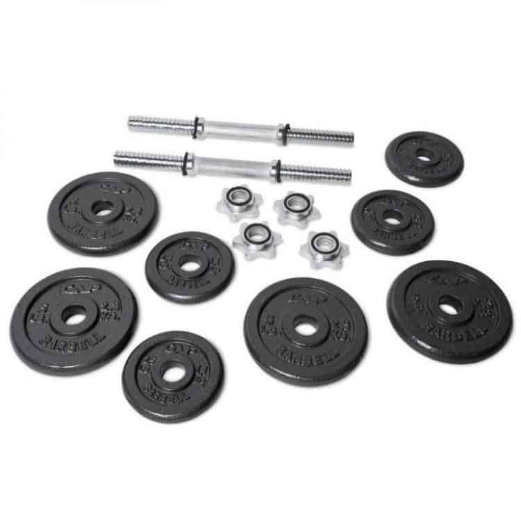 selection of cap barbell dumbbell weight plates and handles