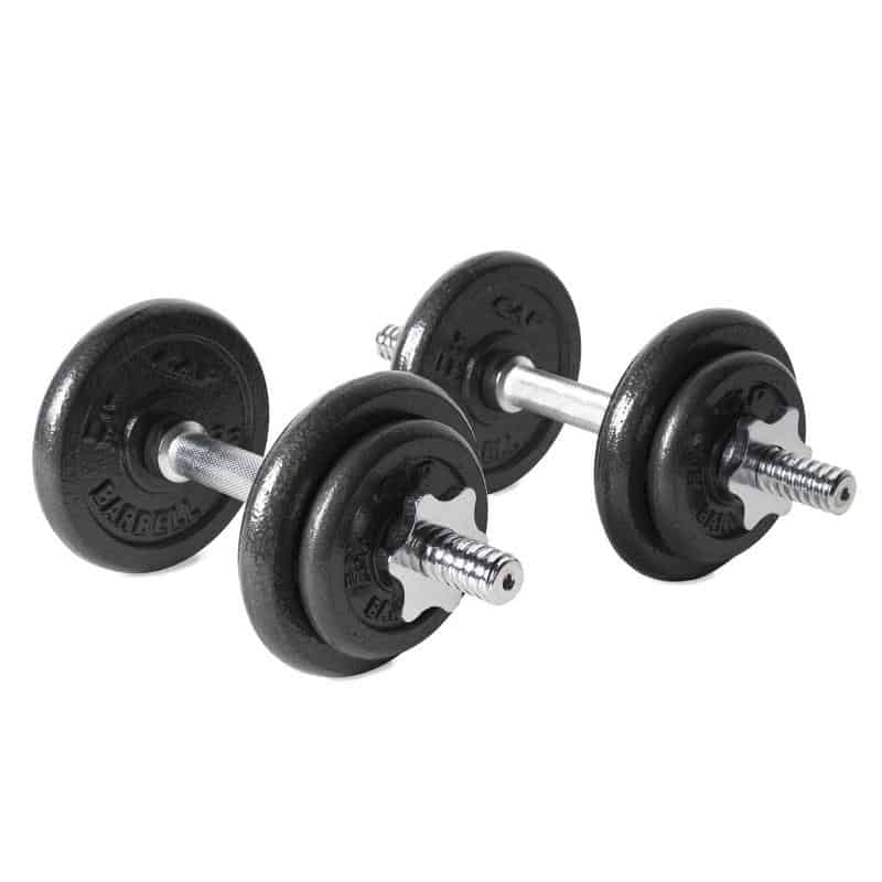 2 cast iron dumbbells