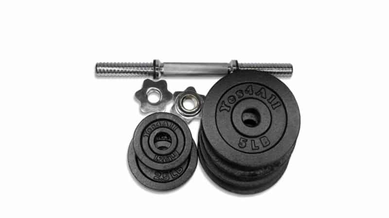 weight plates collars and bars of white background