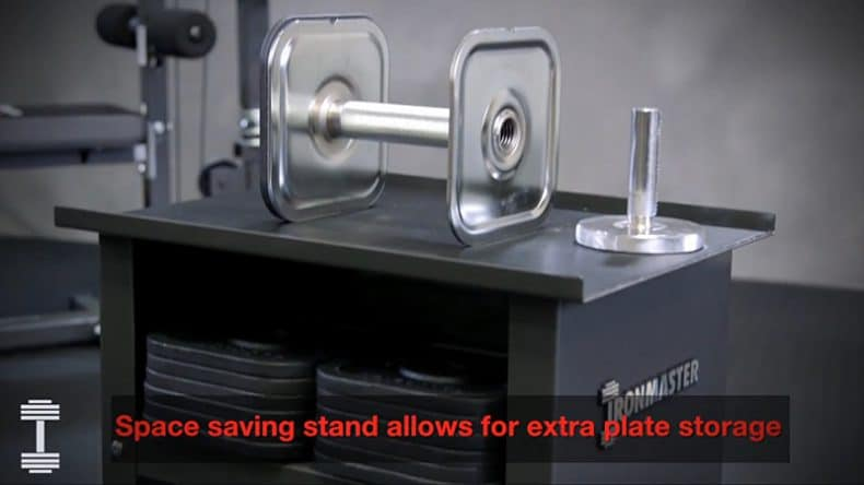 adjustable dumbbell stand shows how to save space