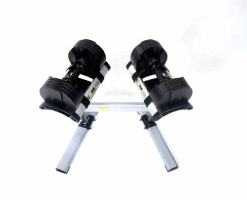 pair of dumbbells on stand
