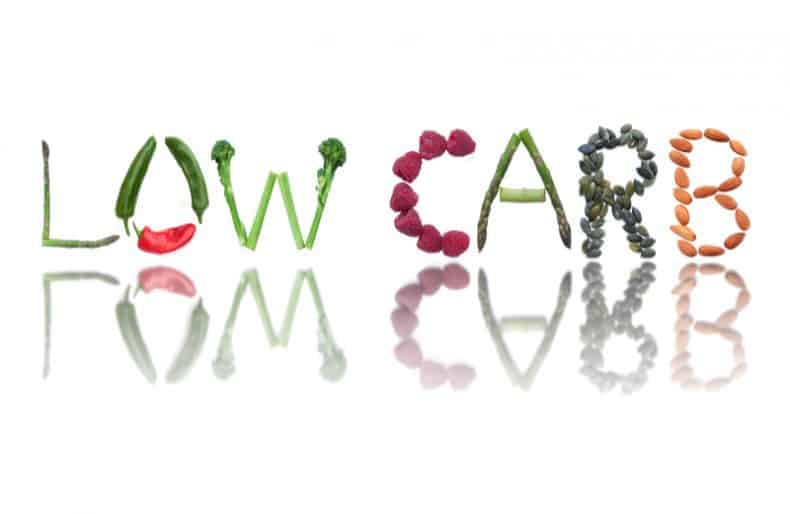 low carb sign made of food on white background