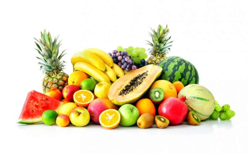 a variety of fruit on white background