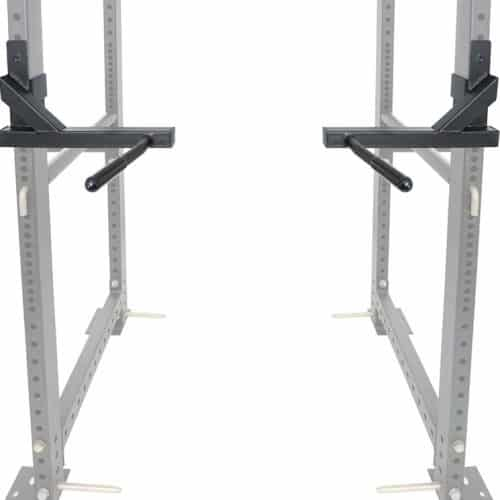 pair of Titan Fitness dip bars, shown attached to rack