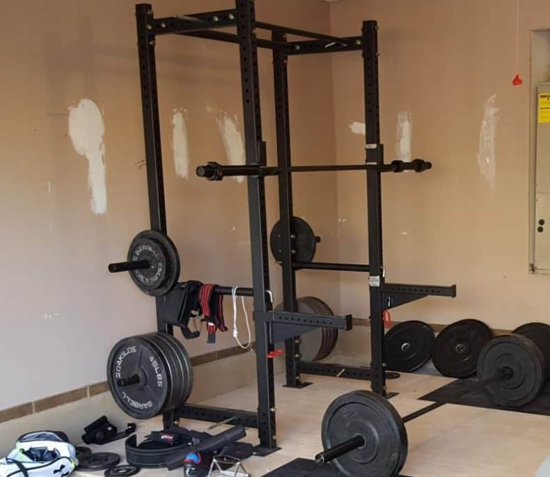 titan HD power rack in garage gym of house