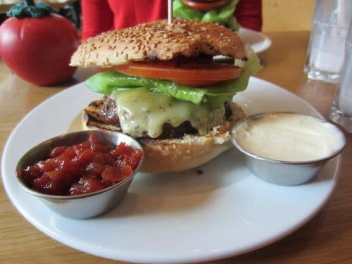 gourmet burger with side dips