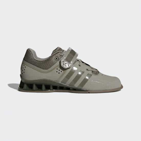 gray pair of adidas adipower weightlifting shoes