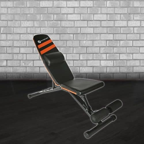 black and orange Gymenist fitness bench