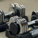 bayou fitness 50lb dumbbells in cradles