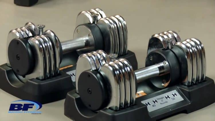 bayou fitness 50lb dumbbells in cradles