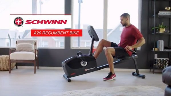 man cycling on schwinn A20 recumbent bike