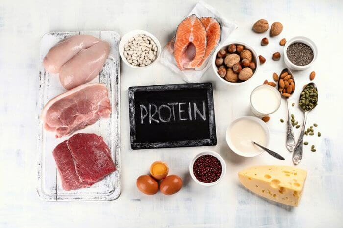 Different food high in protein surrounding the chalkboard with writing protein on it