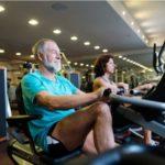seniors exercising on exercise bikes