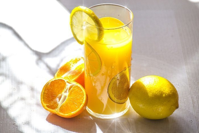 tall glass of squeezed orange juice
