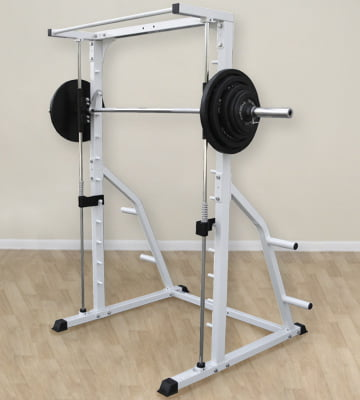 Deltech Fitness smith machine loaded with weight plates