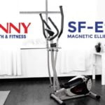 full view of sunny health and fitness SF-E905 elliptical bike in front room of house