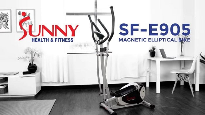 sunny health elliptical in front room of home