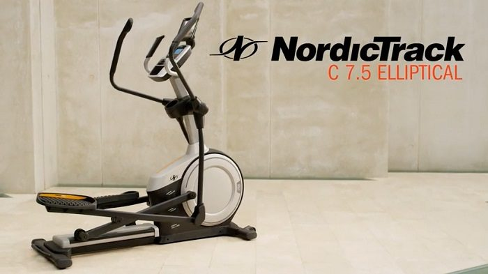 nordictrack elliptical trainer in grey room