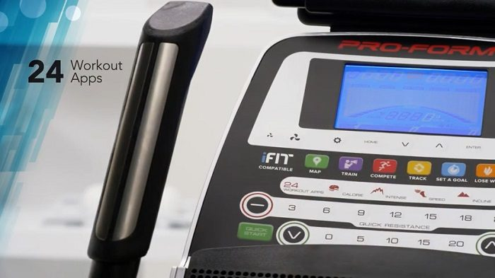 close up and demonstration of proform 720 e elliptical trainer monitor