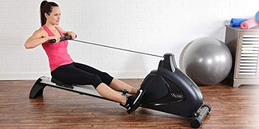 woman rowing on Stamina-avari-magnetic-rowing-machine