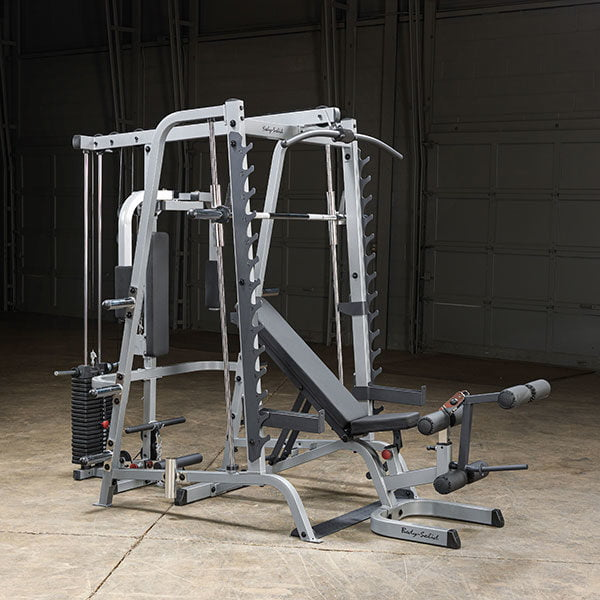 body solid series 7 smith machine in a large garage