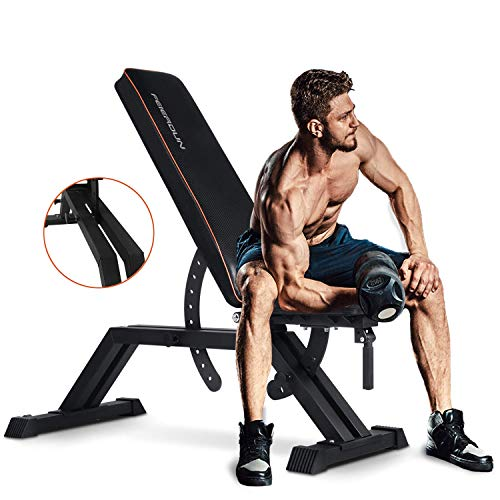 man performing dumbbell curls on feierdun heavy duty adjustable bench