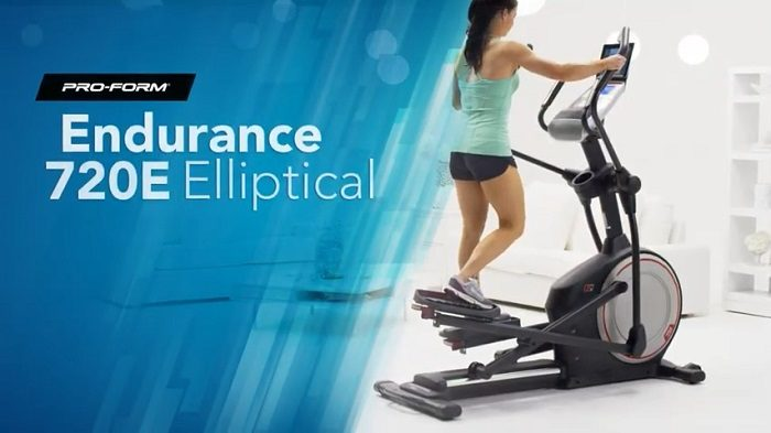 woman exercising on proform 720 e elliptical machine