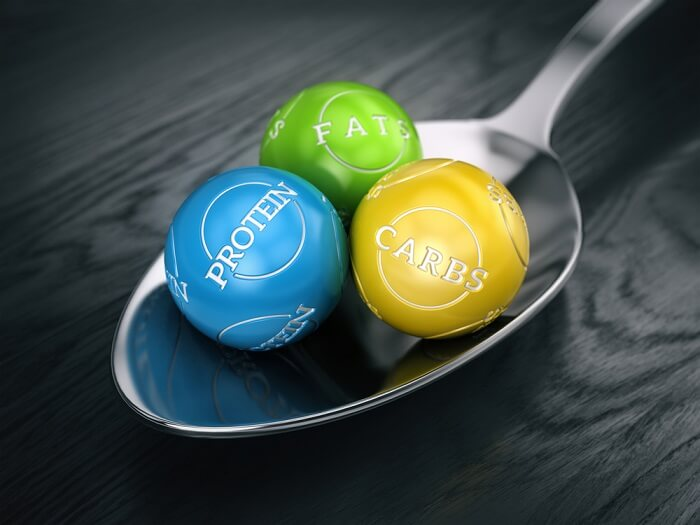 spoon holding three different colour balls saying protein and carbs and fat