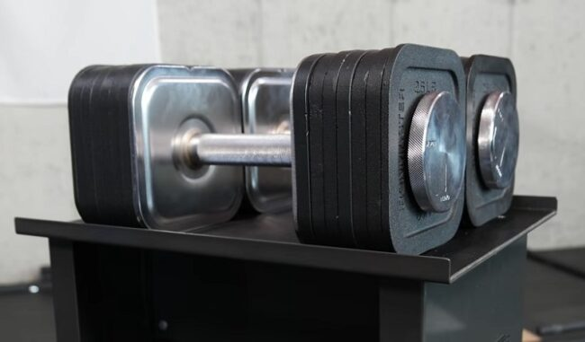 Pair of ironmaster 75lb dumbbells on stand