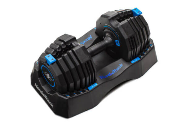 single nordictrack adjustable dumbbell white background