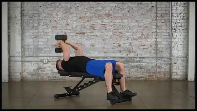 guy performing tricep exercise on fitness reality super max weight bench