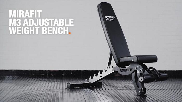 mirafit m3 weight bench in home gym