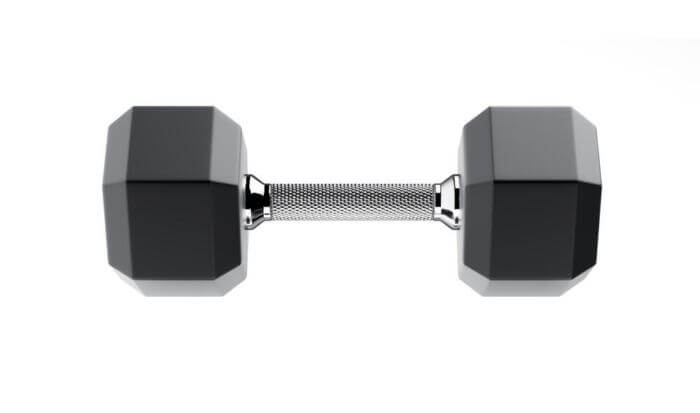 fixed weight dumbbell white background