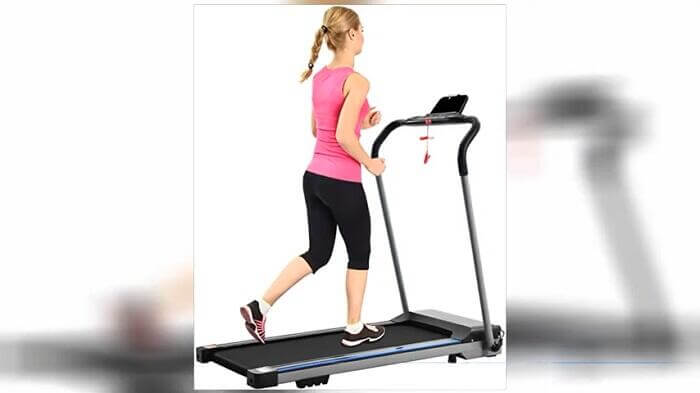 woman running on fyc folding treadmill