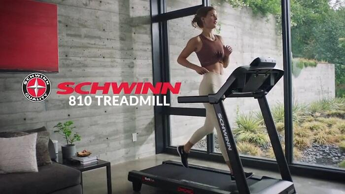 woman running on schwinn 810 treadmill