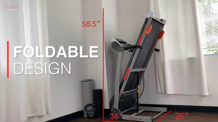 foldable design sunny health treadmill in room of house