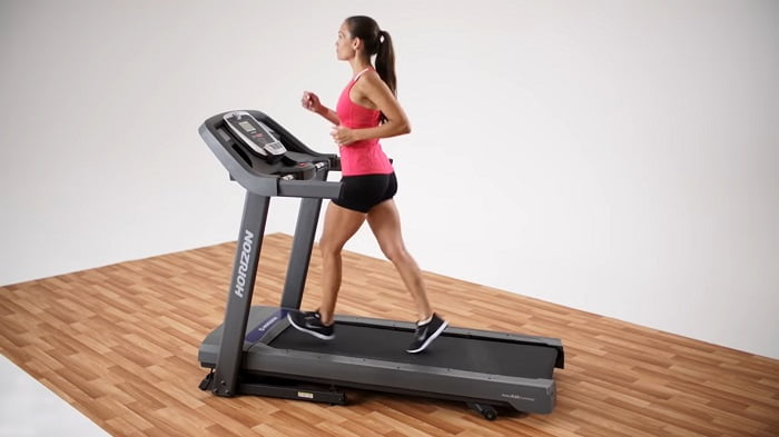 woman walking on a horizon t101 treadmill