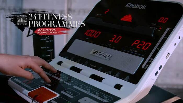demonstration of Reebok Jet 100 Series Treadmill monitor