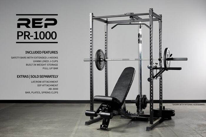 rep pr1000 power rack with bench and loaded barbell
