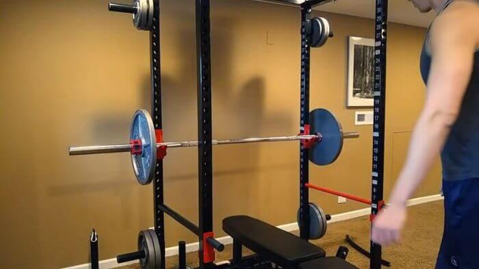 TDS power rack and loaded barbell