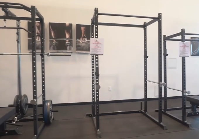 selection of entry level power racks in display room