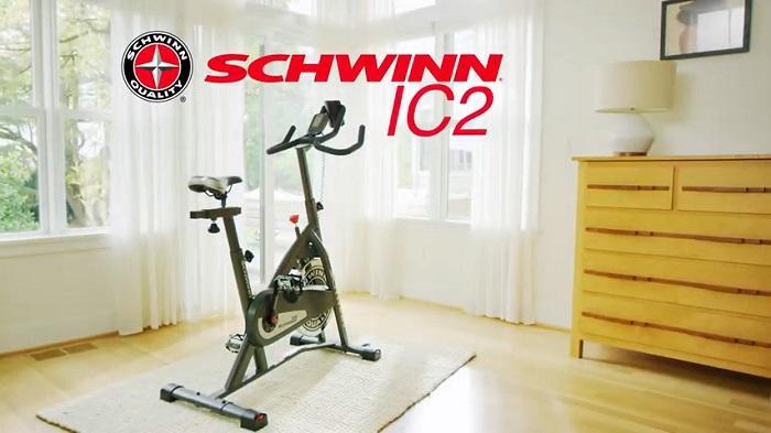 Schwinn IC2 Spin bike in front room of house