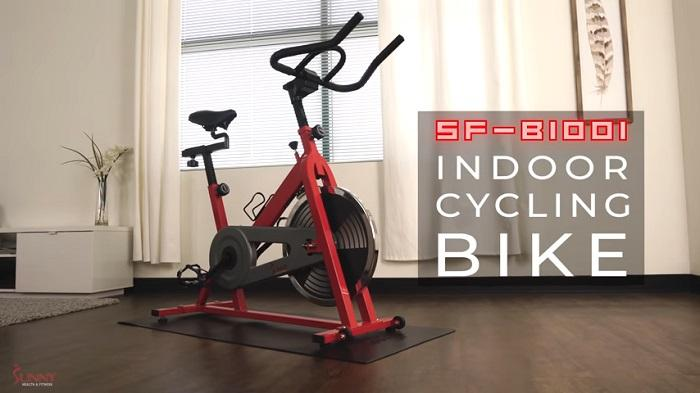 Sunny Health & Fitness SF-B1001 Indoor Cycling Bike in front room of house