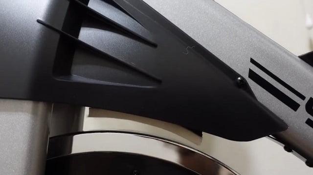 demonstration of friction pad hitting fly wheel Yosuda spin bike