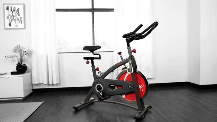 Sunny Health & Fitness SF-B1423 Belt Drive Indoor Cycling Bike in front room of house